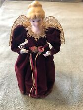 """14"""" Red Angel Tree Topper Porcelain Face with Wings and Lights up"""