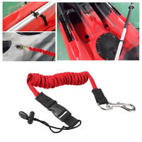 EE_ KAYAK CANOE INFLATABLE BOAT PADDLE ELASTIC COILED LEASH CORD OAR ROPE TETHER
