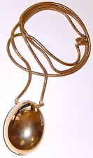 Vintage Vendome Snake Chain Necklace Egg Pendant Large 40 inches Signed