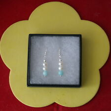 wunderschön Ohrringe mit weißem Perlen und Amazonit 2 gr.3 cm lang + 925 haken
