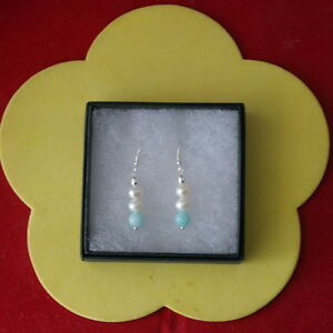 Beautiful Earrings With White Pearls And Amazonite 2 Gr.3 Cm. Long + 925 Hooks