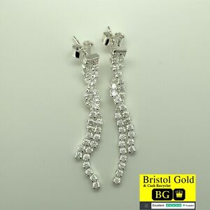 Stunning 925 Italian Sterling Silver Drop Twisted Earrings-BRAND NEW & FREE P&P
