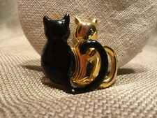 2 Cats Pin / Brooch ~ Gold & Black Cats Side By Side