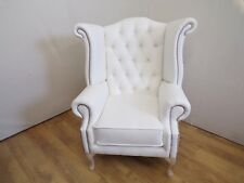 White Faux Leather Queen Anne Wing Chair