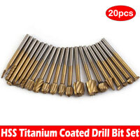 20X HSS Routing Router Grinding Burr Bit Wood Cutter For Rotary Dremel Tool