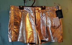 NWT $398 JOE'S Leather Tulip Trouser Women Shorts. Gold. Metallic. Sz.28,29, 30