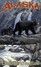 Northwest Art Mall Bear and Cub on Log Alaska by Paul A. Lanquist 11x17-H15 31AM