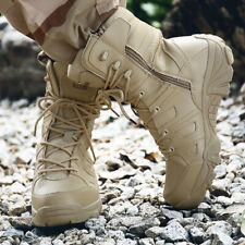 Mens Side Zip High top Lace up Desert Military Ankle Boots Slip Resistant Shoes