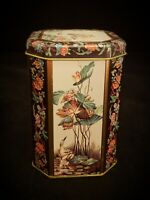 Meister Made In Brazil Octagonal Tin With Floral Design, Blue Heron Birds 5""