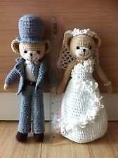 "11"" A Couple Crochet Wedding Bear Doll Ornament for Gift and Decoration"