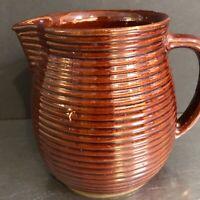 VTG Monmouth Western Pottery Milk Jug Brown Ribbed Made USA Kitchen Creamer