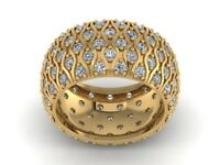Natural 4.00Ct Round Cut Diamond Wide 5Row Wedding Eternity Band 10k Gold