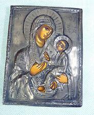 Russische Ikone Gottesmutter Hodegetria um 1850 Moskau mit Silber Oklad gepunzt