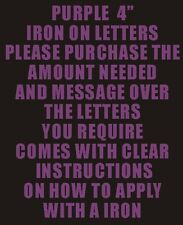 "10 4"" PURPLE IRON ON LETTERS & NUMBER TRANSFER PRINTING"
