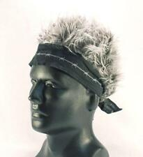 BANDANA HAT WITH SPIKED UP BLACK / GRAY HAIR  cap MENS WOMENS new fake BILLY BOB