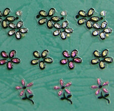 Nail Art 3D Sticker Crystal Decal 5-Petal Flowers w/ Colored Crystals 42pc/sheet