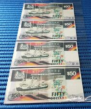 4X Singapore Ship Series $50 Note E/25 654805 - 654808 Run Dollar Note Currency