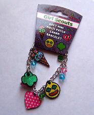 Cute Girl Scout SOFT MINI MULTI-PATCH CHARM BRACELET Trefoil Jewelry Leader GIFT