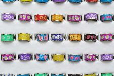 10pcs New Wholesale Lots Flower Children Polymer Clay Silver Rings Free