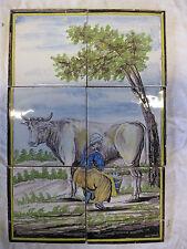 antikes Fliesentableau Kuh Utrecht polychrome Kachel Tegel Dutch Tiles 19.Jh