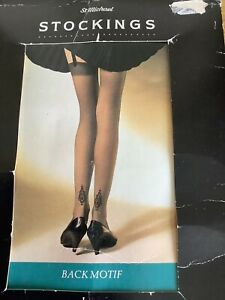 New Marks And Spencer Barely Black Motif Stockings One Size