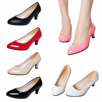Women Ladies Low Mid High Kitten Heel Work Casual Smart Court Shoes Pumps 3.5-8