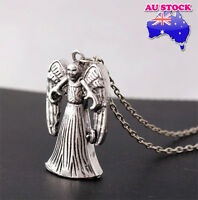 Vintage Retro Weeping Angel DOCTOR WHO TARDIS 3D Double-Faced Pendant Necklace