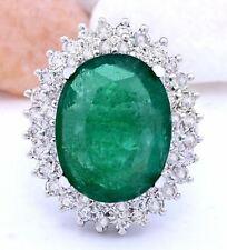 9.30 Carat Natural Emerald 14K Solid White Gold Diamond Ring