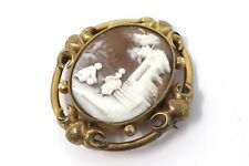 A Superb Large Antique Victorian Gold Plated Shell Scene Cameo Brooch #24236