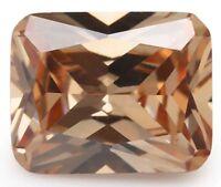 Champagne Zircon 8x10mm 5.16Ct Emerald Cut AAAAA VVS Loose Gemstone