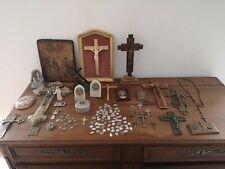 gros lot d objets religieux médailles croix crucifix chapelet icone.......