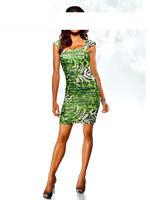 Heine Kleid 38 40 42 grün Leo Leopard grün schwarz Abendkleid Strass Animal NEU