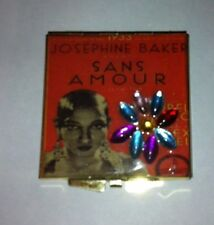 Collector Josephine Baker Red Sans Amour Square Silver Mirror Compact