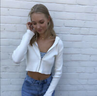 Brandy melville white ribbed Knit Arden hoodie jacket NWT sz S