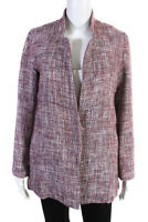 Suncoo Womens Tweed Long Sleeve Jacket Red White Size Small
