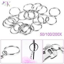 Stainless Steel Keyring Blanks Split Key Rings 25mm Loop Silver Key Chain DIY UK
