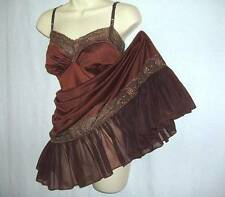 Vtg Nutmeg Brown Colura Drama Bow Lace Trim Frilly Figure Hugging Full Slip M