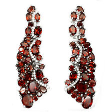 BIG! LUXURY NATURAL MOZAMBIQUE GARNET-W. CZ STERLING 925 SILVER EARRINGS