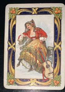 Playing Swap Cards 1 Old English Wide Lady Playing The Guitar