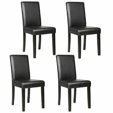 Set of 4 Dining ChairDesign Kitchen Elegant Dinette Room Black Leather Backresta