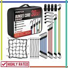 BUNGEE CORDS Hook Assortment Canopy Ties Ball Bungees Bungie Cord Case FORTEM