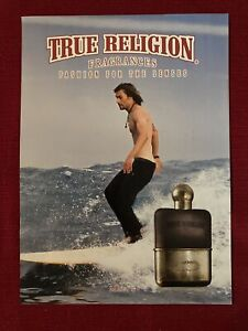 True Religion Men's Cologne Shirtless Man Surfing 2009 Ad/Poster Promo Art Ad
