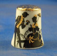 Birchcroft China Thimble -- Gold Top --  Silhouette -- Free Dome Box