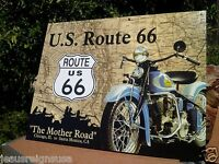 Us Route 66 Historic Mother Road Tin Metal Classic Sign Garage Motorcycle