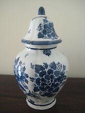 Vintage Delft Blue White Large Ginger Jar Vase With Lid Hand-Painted Marked 29cm