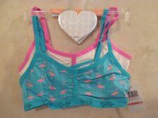2 New JESSICA SIMPSON Size M 8-10 Blue Pink Flamingo Crop Top Training Bras