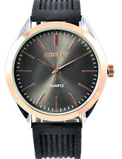 Henley Mens Urban Design Black & Rose Gold Tone Watch Grooved Silicone Strap