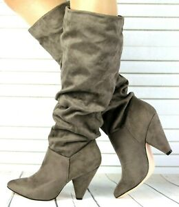 New Women Ladies Mid Calf Knee High Boots Cone Mid Heels Shoes Size Sizes UK 4-8