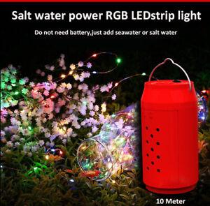 100LED Salt power Fairy String Light Copper Wire Outdoor Waterproof Garden Decor