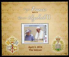 Mustique Gren St Vincent 2014 MNH Pope Francis Queen Elizabeth II 1v S/S Stamp